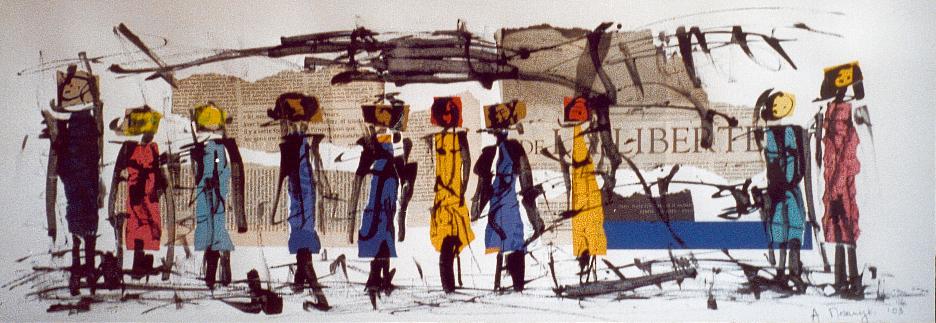filles liberté 2003, collage, encre de chine sur papier vinci 80 x 30 cm
