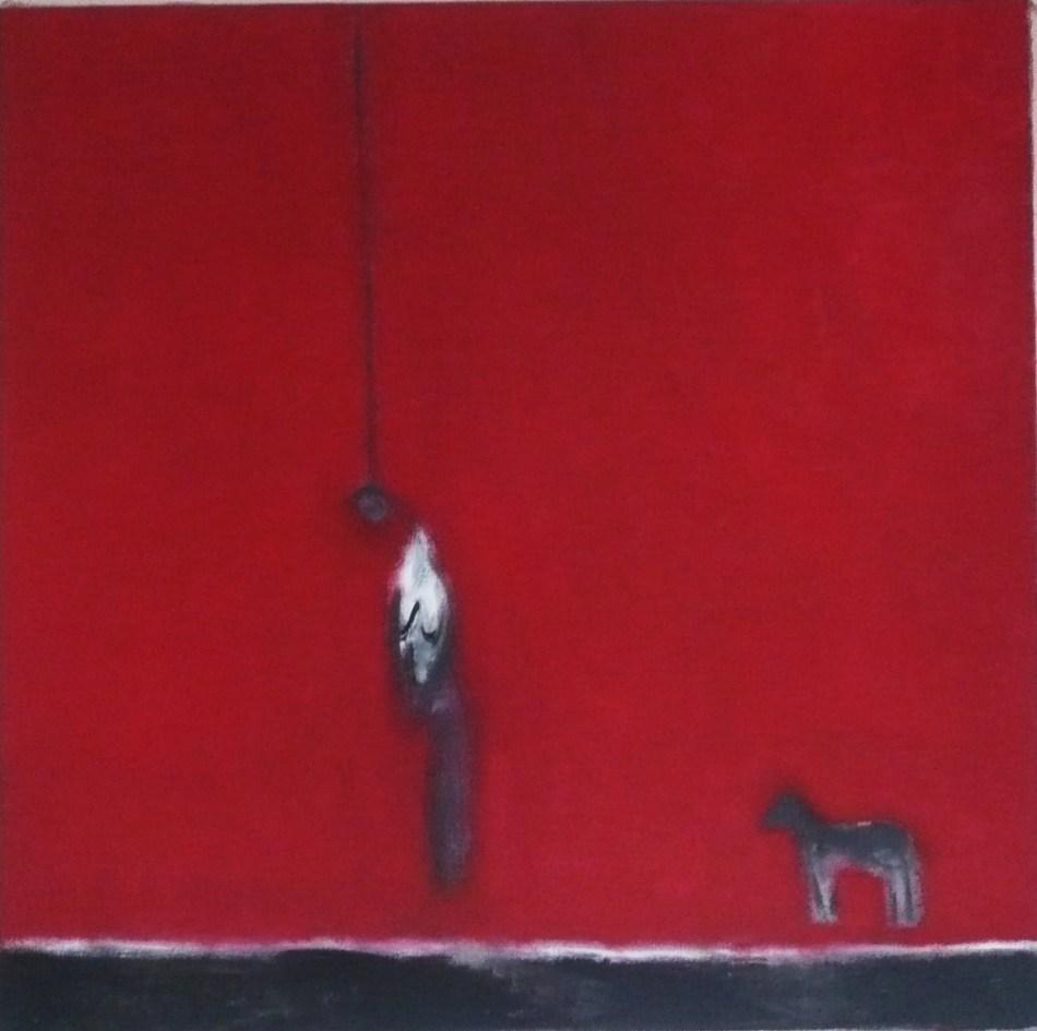 la pendue & le petit chien 2012 oil on canvas 80 x 80 cm