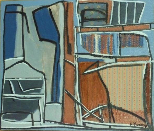 atelier 1994 collage, huile sur toile 65 x 54 cm