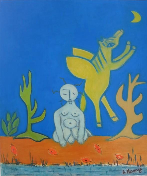 ADELE MOSONYI les noctambules 2018 oil on canvas 46 x 55 cm