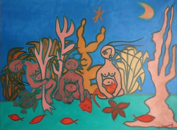 adele mosonyi les filles de neptune 2018 huile sur toile 89 x 116 cm
