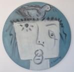 medusa with bird 2016 oil on round canvas circ 50 cm