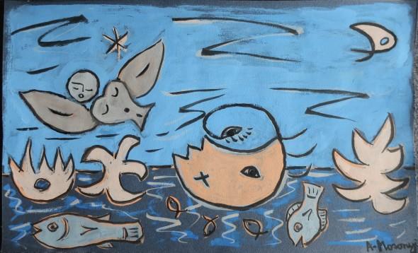 in memoriam, pour sylvie 2020 encre de chine & gouache sur canson bleu 20 x 32 cm