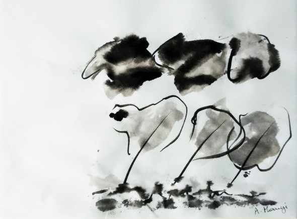 p10 the drift 2019 chinese inkwash on japanese paper 23 x 31 cm