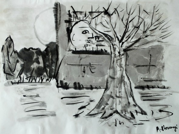 p20 old tree in winter chinese inkwas on japanese paper 24 x 32 cm