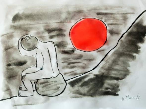 p44 sisyphus 2019 chinese inkwash & watercolour on japanese paper 23 x 31 cm