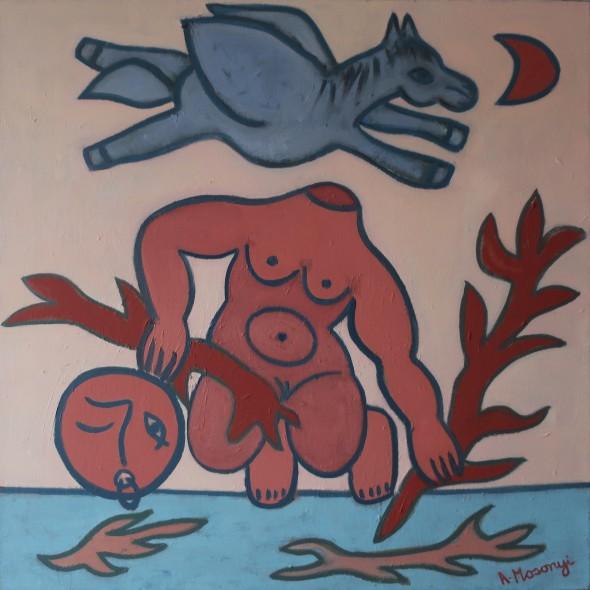 ADELE MOSONYI - LA NAISSANCE DU CORAIL - 2018 - huile sur toile - 80 x 80 cm